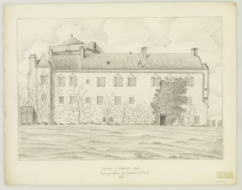 Copy of drawing inscribed ' East view of Elphinstone Castle. Drawn from Nature by A Archer. 17th Nov. 1834'.