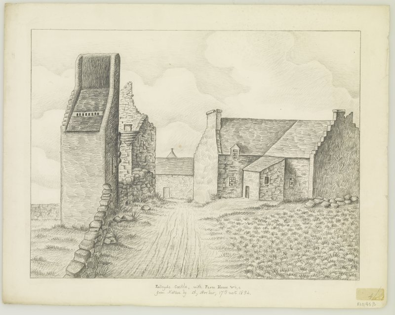 Drawing showing castle, doocot and farmhouse.