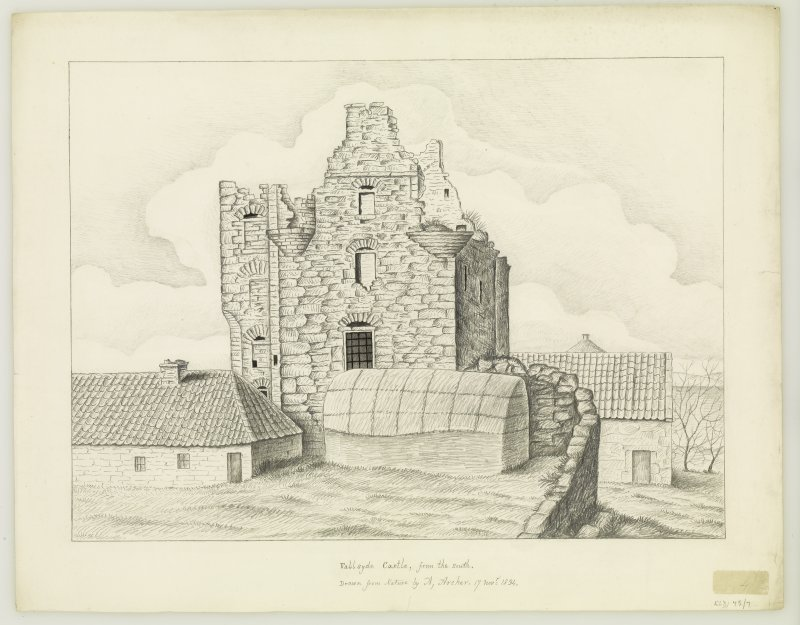 Drawing showing castle in ruins from S.