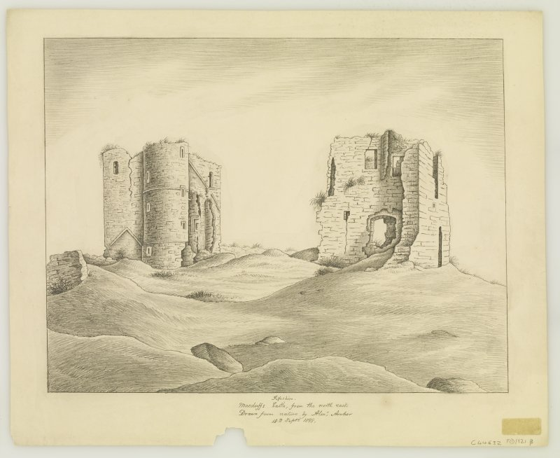 Sketch. Inscr: 'Macduffs Castle, from north east'.