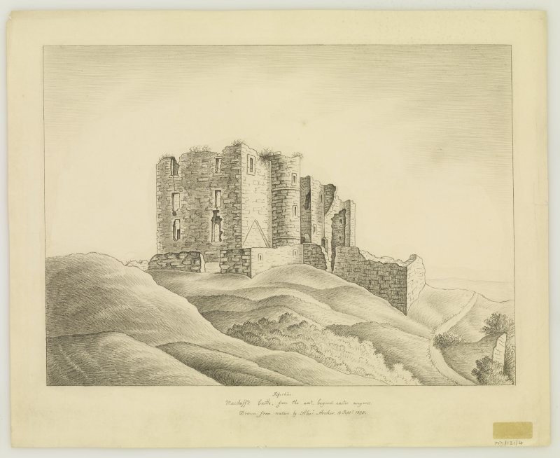 Sketch. View from South, though inscr: 'Macduffs Castle, from the west, beyond easter wemyss'.