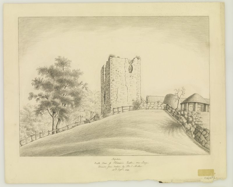 Pencil drawing - View of Pitcruvie Castle from South