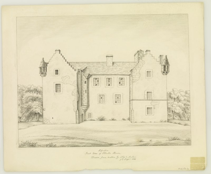 Pencil drawing insc. 'Fifeshire, Front view of Pitcullo House, Drawn by Alexr Archer, 5th Septr 1838'