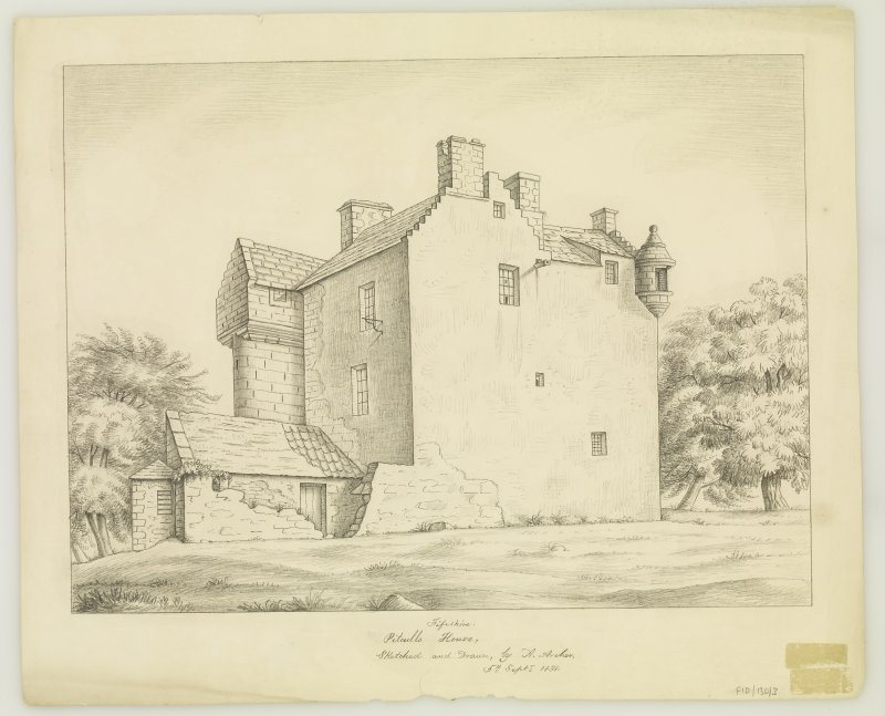 Insc. 'Fifeshire, Pitcullo House, sketched and Drawn by A Archer'