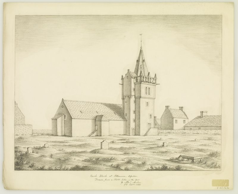 View from north.  'Parish Church at Pittenweem, Fifeshire. Drawn from a sketch Taken on the Spot by Alexr Archer. 8th Septr 1838.'