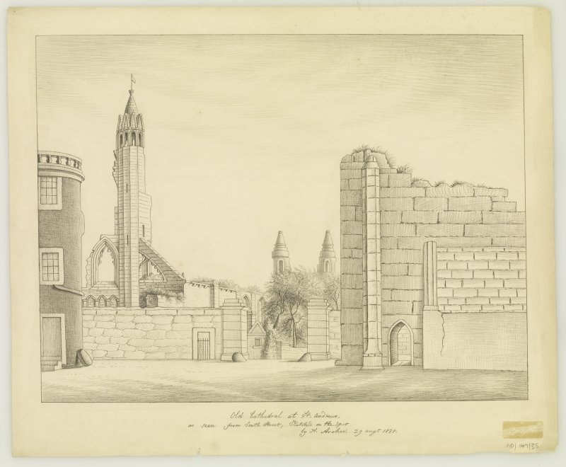 Drawing of St Andrews Cathedral from South Street.