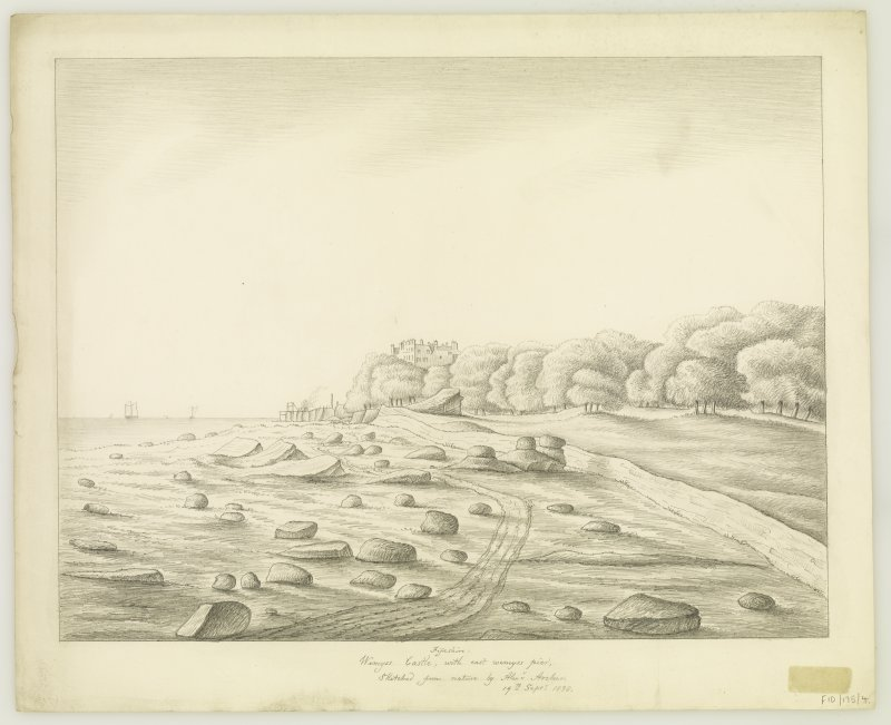 General view from North. Insc: 'Wemyss Castle, with east Wemyss pier. Sketched from nature by Alexander Archer. 19th September 1838'.