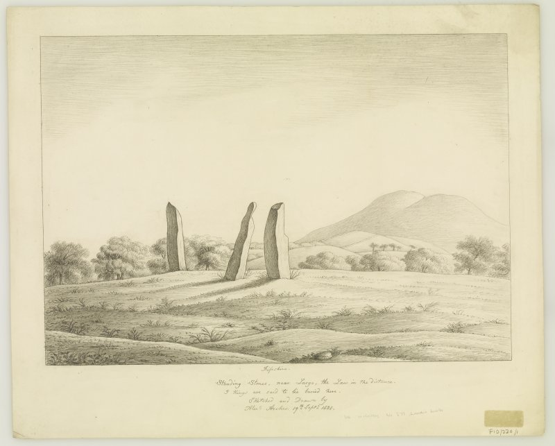 Drawing of Lundin Links standing stones.