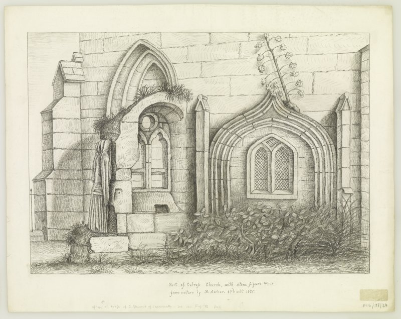 Part of Culross (abbey) Church with stone figure. (effigy of wife of John Stewart of Innermeath) insc. 'from Nature by A.Archer. 23rd October 1835'