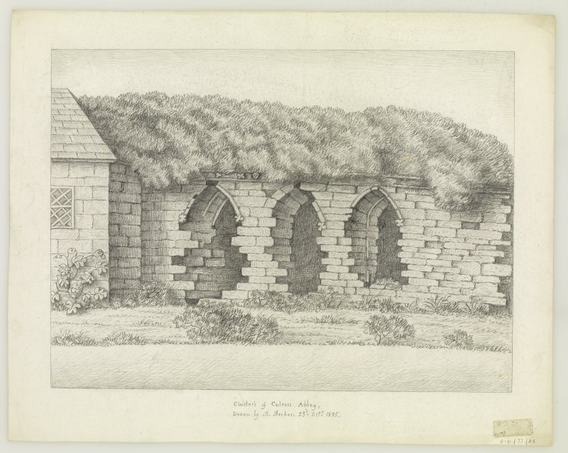 insc. 'Cloisters of Culross Abbey Drawn by A.Archer 23rd Oct. 1835'