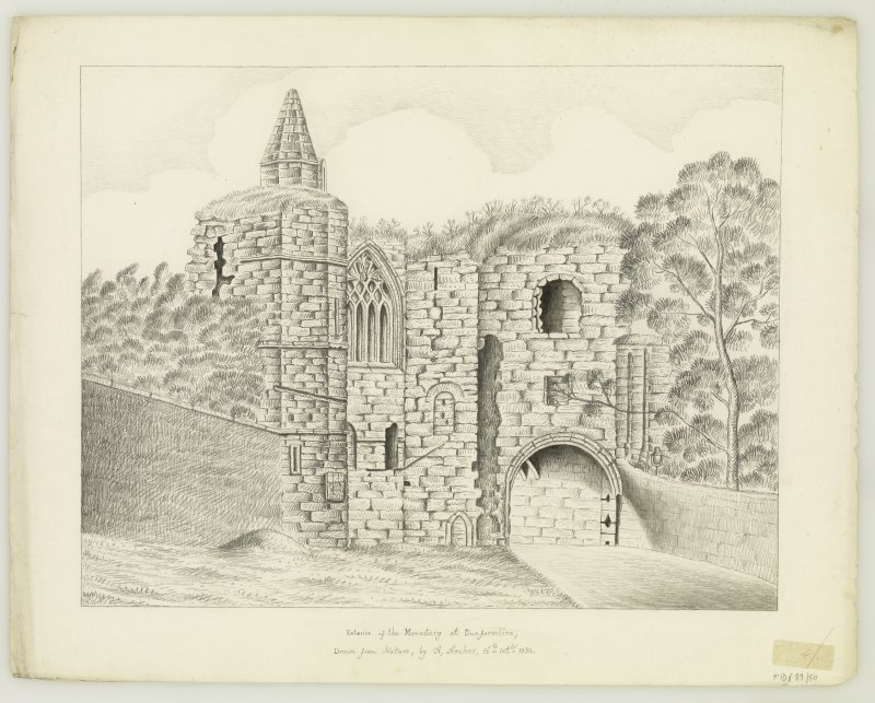 "Exterior of Pends & W. Wall of Refectory Insc. ""drawn from nature by A.Archer, 15th Oct. 1834."""