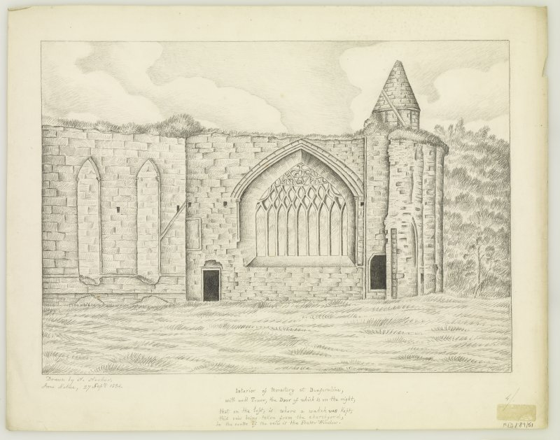 "Interior of Refectory, West & South walls Insc. ""drawn from nature by A.Archer, 27th sept.  1834."""