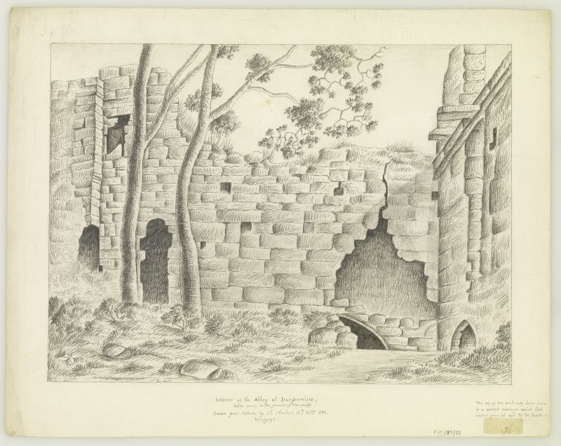 "Interior of part of monastic bldgs. Insc. ""drawn from nature by A.Archer, 13th Oct. 1834."""