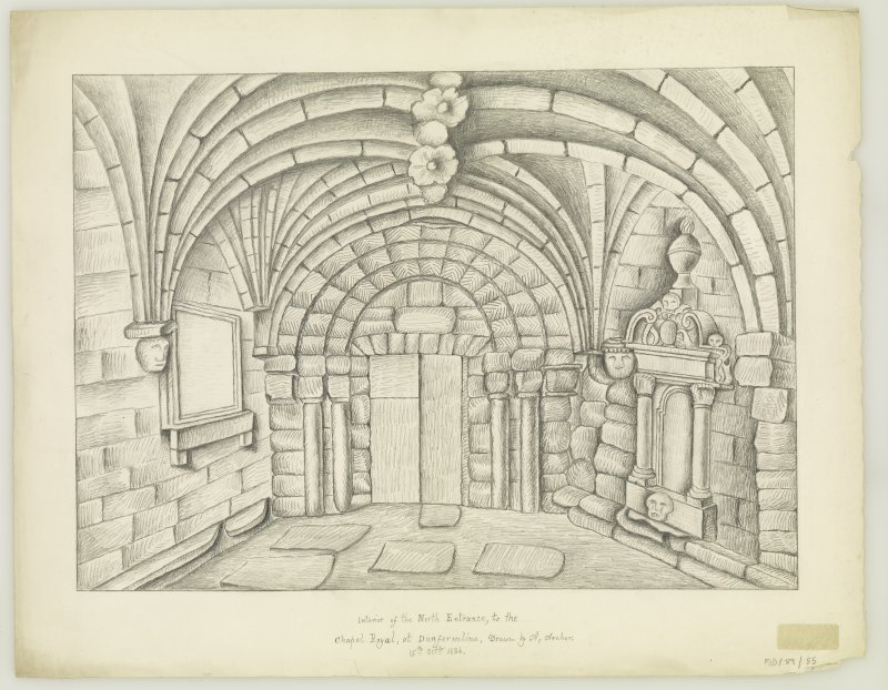 "Interior of North Porch, N. Door. Insc. ""drawn on the spot by A. Archer 15th oct. 1834"""