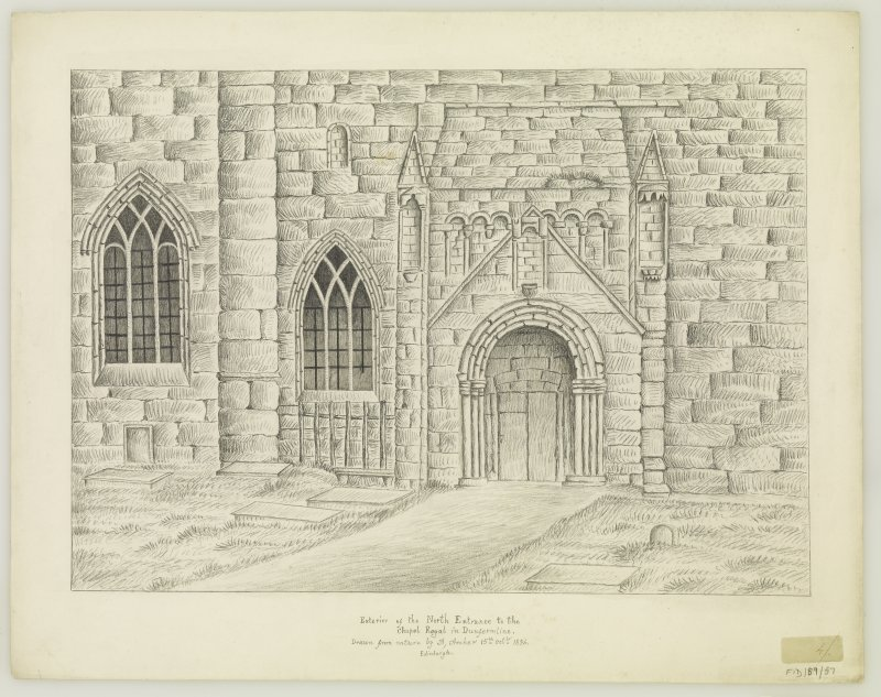 "Exterior of N. Porch Insc. ""drawn from Nature by A.Archer. 15th Oct. 1834"""