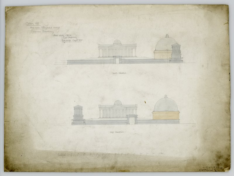 Folio 2 (4) Calton Hill. Proposed Telescope House. Diagram of Elevation of South and East