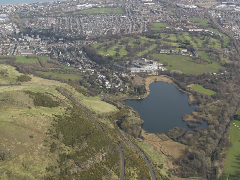 General oblique view centred on Duddingston village and Loch, taken W.