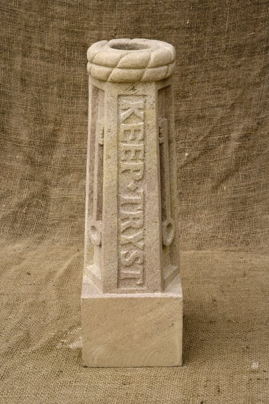 New carved  false spout with 'Keep Tryst' motto and key (daylight)