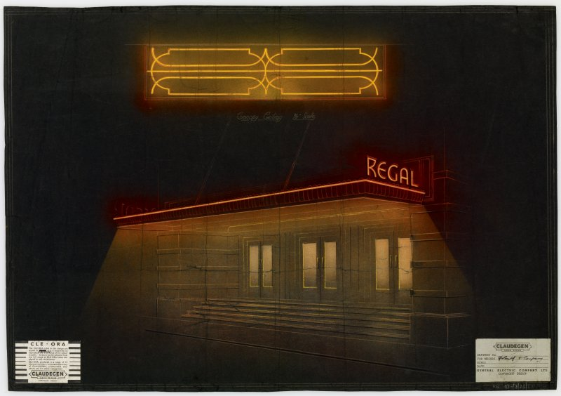 Regal Cinema for Broxburn Enterprises Limited. Perspective view of canopy lighting, possibly for Broxburn, Greendykes Road, Regal Cinema.   Insc on recto: 'For [...] Smith and Company'.