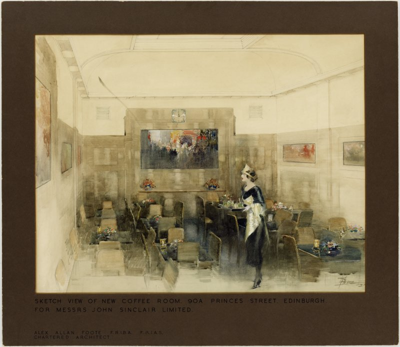 Drawing of Edinburgh, 90A Princes Street, coffee room for Messrs John Sinclair Limited.  Perspective sketch of coffee room interior.
