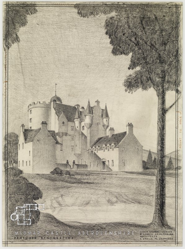 Aberdeenshire, Midmar Castle. Presentation perspective view of castle. Insc: 'Leslie Grahame-Thomson & Connell, A.R.S.A. F/A.R.I.B.A., 6 Ainslie Place, Edinburgh 3.'