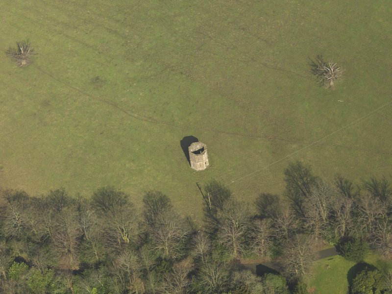 Oblique aerial view centred on the dovecot, taken from the SW.