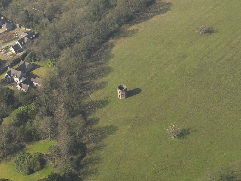 Oblique aerial view centred on the dovecot, taken from the SE.