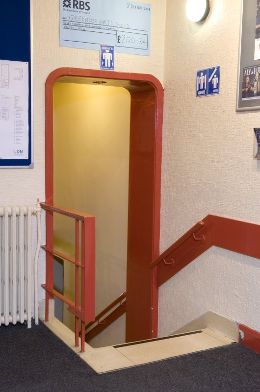 Detail of stairway to backstage area in Arts Guild Theatre, Campbell Street, Greenock.