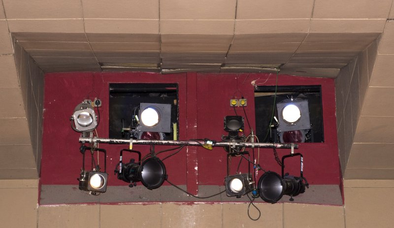 Detail of lighting booth in auditorium of Arts Guild Theatre, Campbell Street, Greenock.