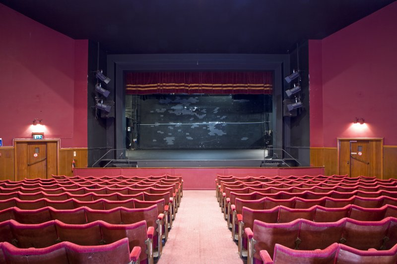 View of auditorium looking towards stage in Arts Guild Theatre, Campbell Street, Greenock.