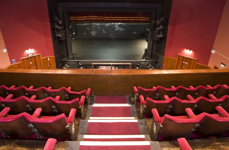 View of auditorium at balcony level inside Arts Guild Theatre, Campbell Street, Greenock.