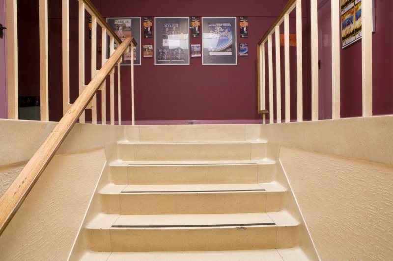 View of stair to balcony in Arts Guild Theatre, Campbell Street, Greenock.