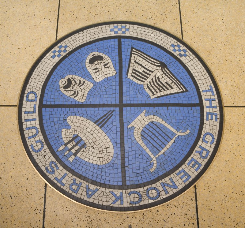 Detail of entrance lobby mosaic floor, Arts Guild Theatre, Campbell Street, Greenock.