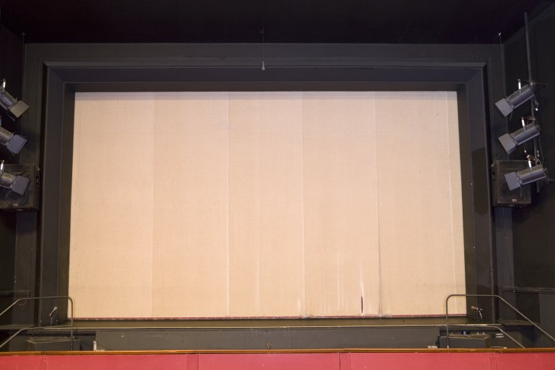 View of stage with tin curtain in place at Arts Guild Theatre, Campbell Street, Greenock.