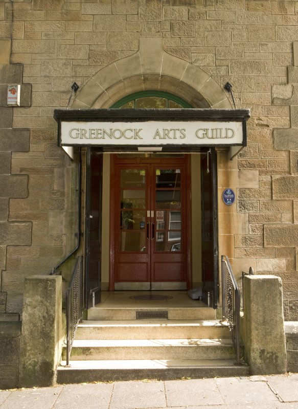 Detail of main entrance to Arts Guild Hall, Campbell Street, Greenock.