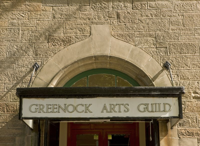 Detail of entrance door canopy at Arts Guild Theatre, Campbell Street, Greenock.