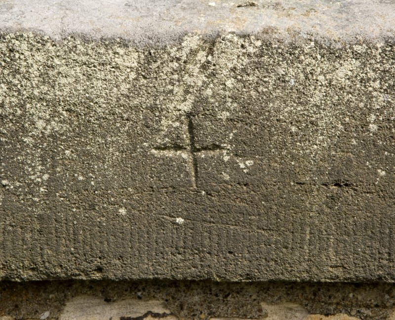 Detail of possible masons mark, a small 'cross' cut into N parapet, Newbattle railway viaduct
