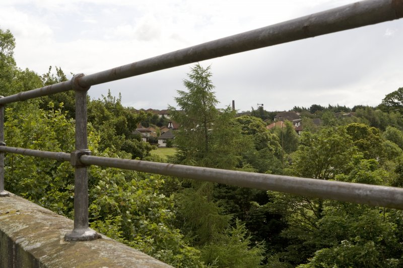 Detail of handrail on parapet showing Lady Victoria colliery headstock in the distance.