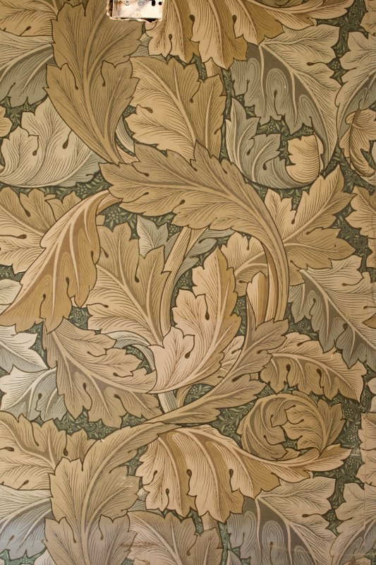 Interior. 1st floor, dining room, detail of William Morris wallpaper