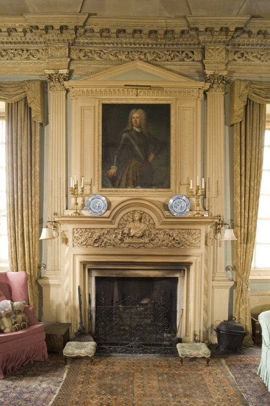 Interior. 1st floor, drawing room, view of fireplace and overmantle on N wall