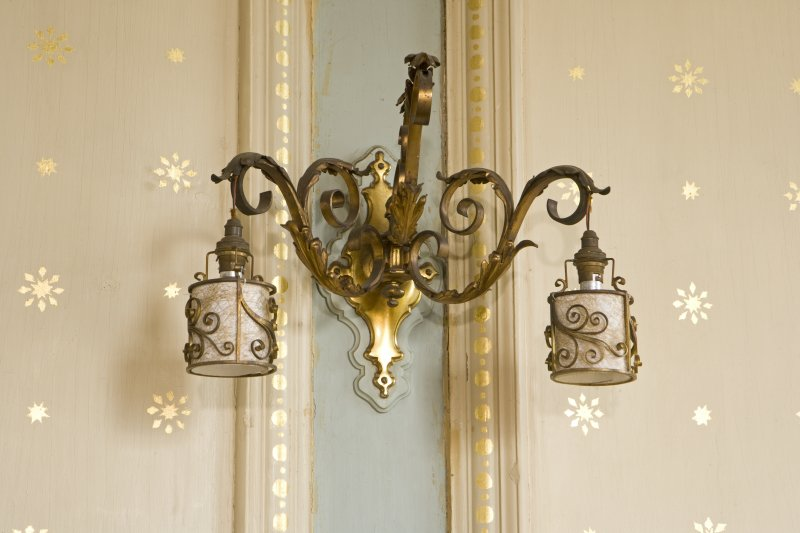 Interior. 1st floor, drawing room, detail of wall light fitting