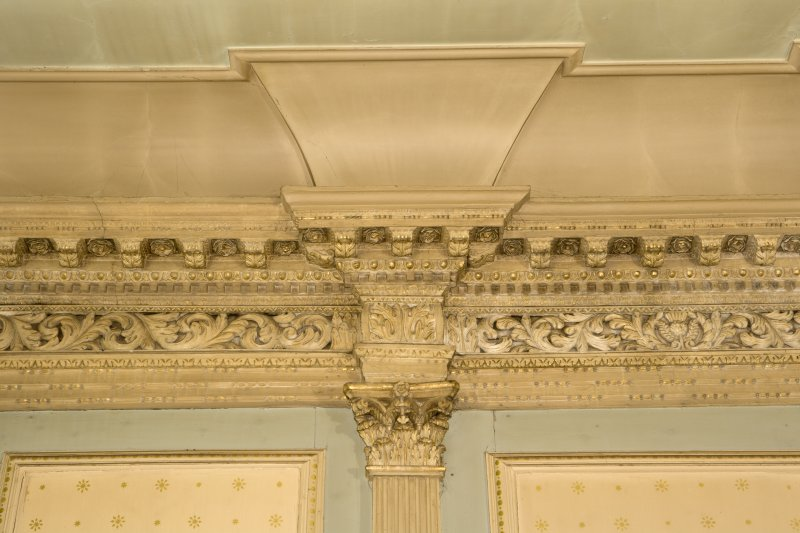 Interior. 1st floor, drawing room, detail of cornice