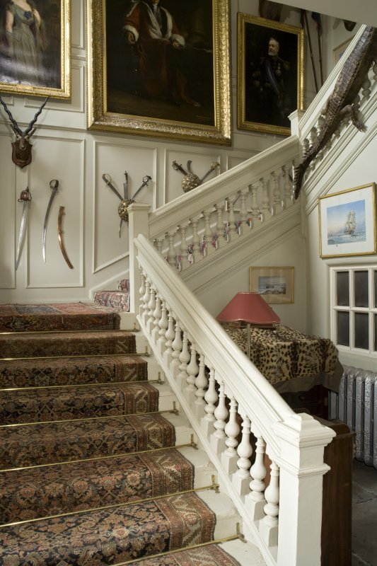 Interior. Ground floor, stair hall, view from W