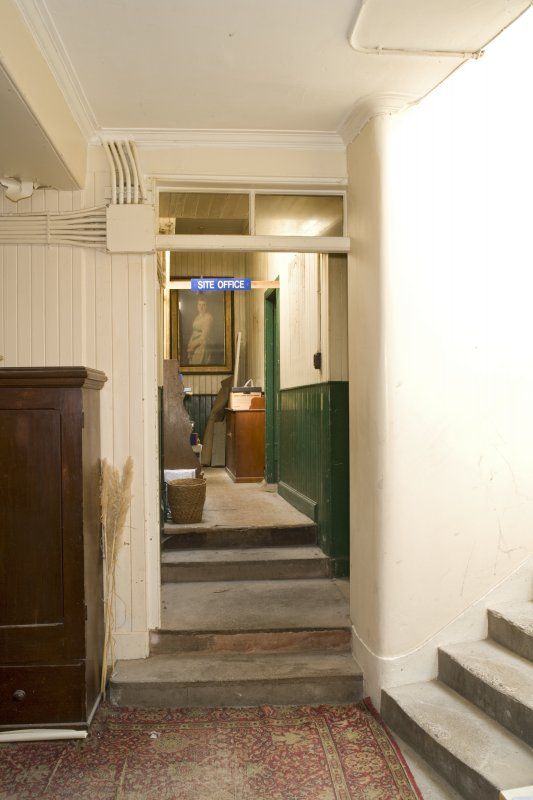 Interior. Ground floor, corridor, view towards Edwardian addition from W