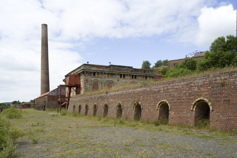 Chimney, generator-house and brick kilns, general view from SE
