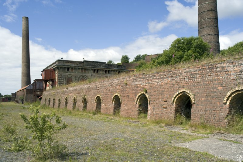 Chimney, generator-house and brick kilns, view from SE