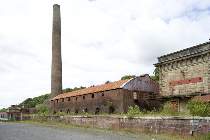 Chimney and brick kilns, view from SSE