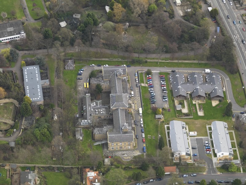 Oblique aerial view of Corstorphine Hospital, taken from the W.