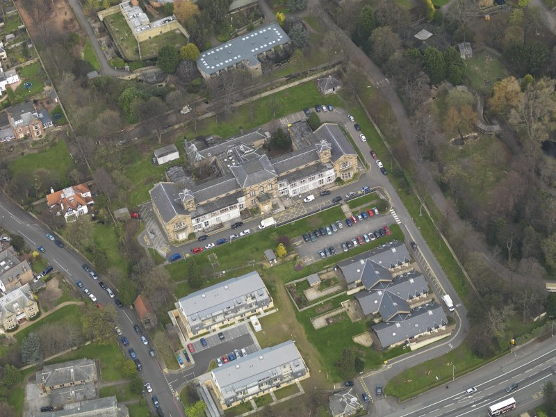 Oblique aerial view of Corstorphine Hospital, taken from the SSW.