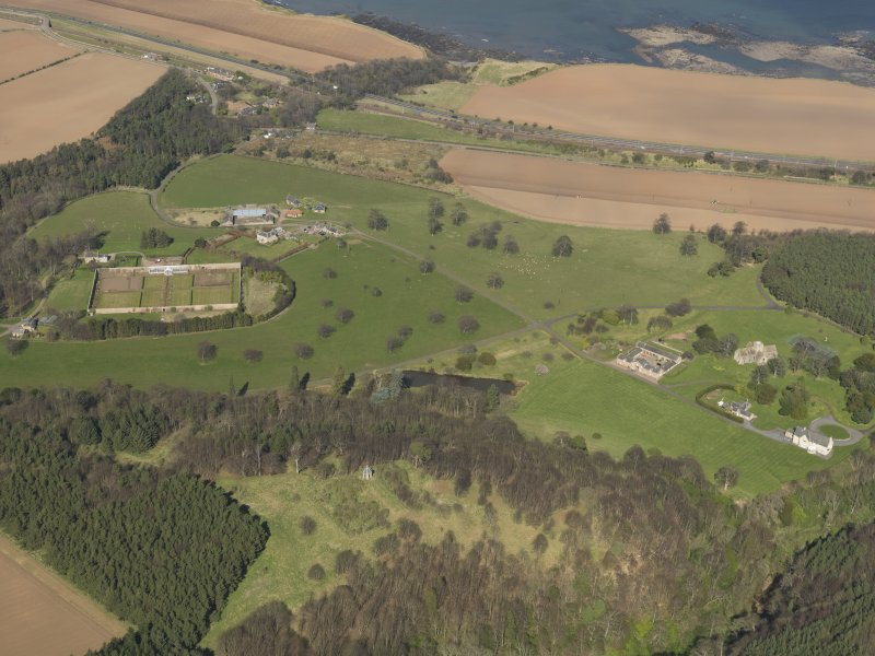 General oblique aerial view of Dunglass House and policies, taken from the SSW.